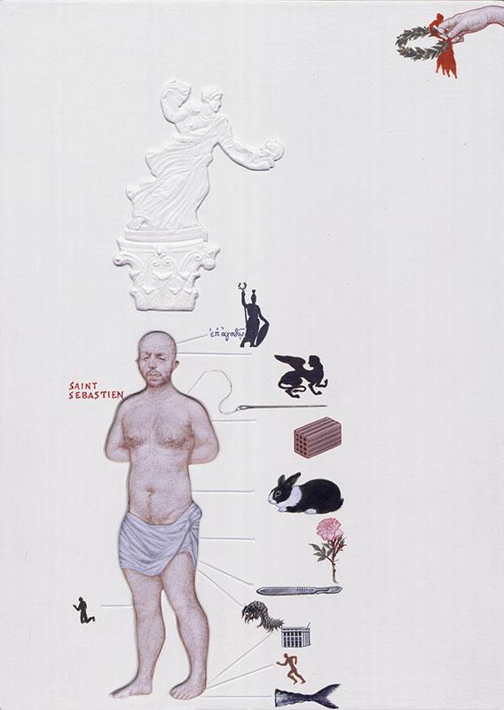 Emmanouil Bitsakis, Saint Sebastien, acrylics on cardboard, 21 x 15 cm