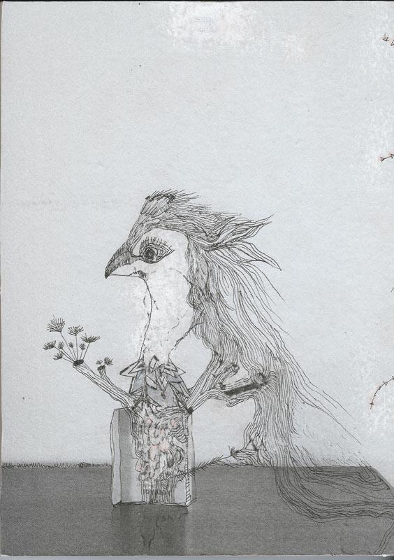 Vanessa Anastasopoulou, Mane, mixed media on paper on wood, 18 x 13 cm