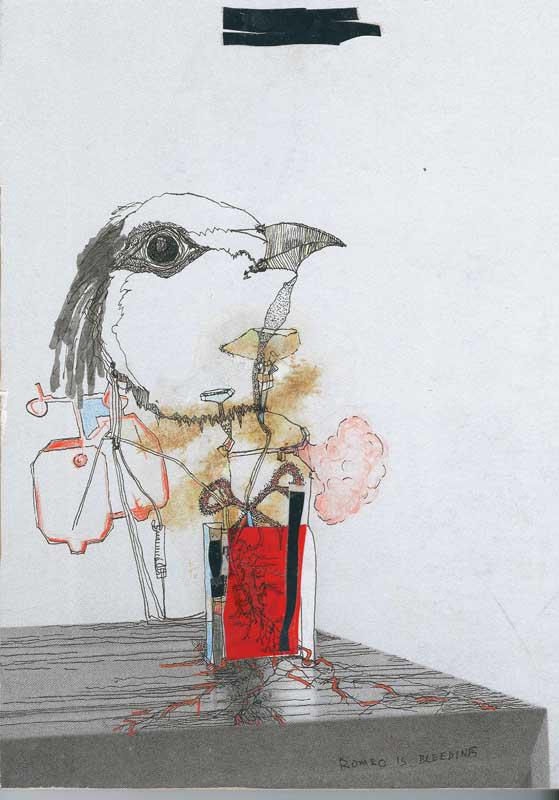 Vanessa Anastasopoulou, Romeo Is Bleedingmixed media on paper on wood, 18 x 13 cm