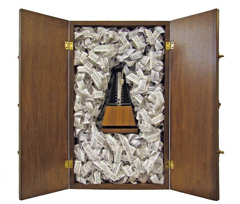 Marios Fournaris, Pandora's Box, wood, metronome, paper, 56 x 34 x 47 cm