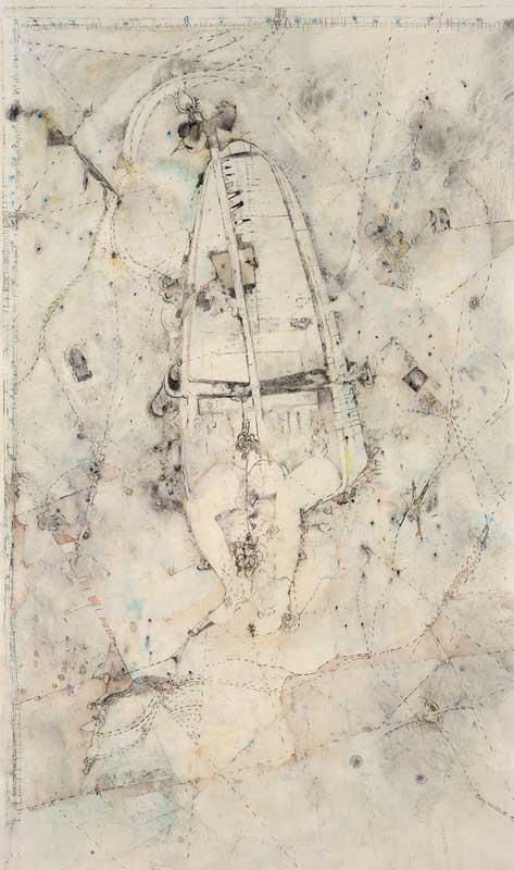 Vanessa Anastasopoulou, Surveyingmixed media on paper on wood, 170 x 90 cm