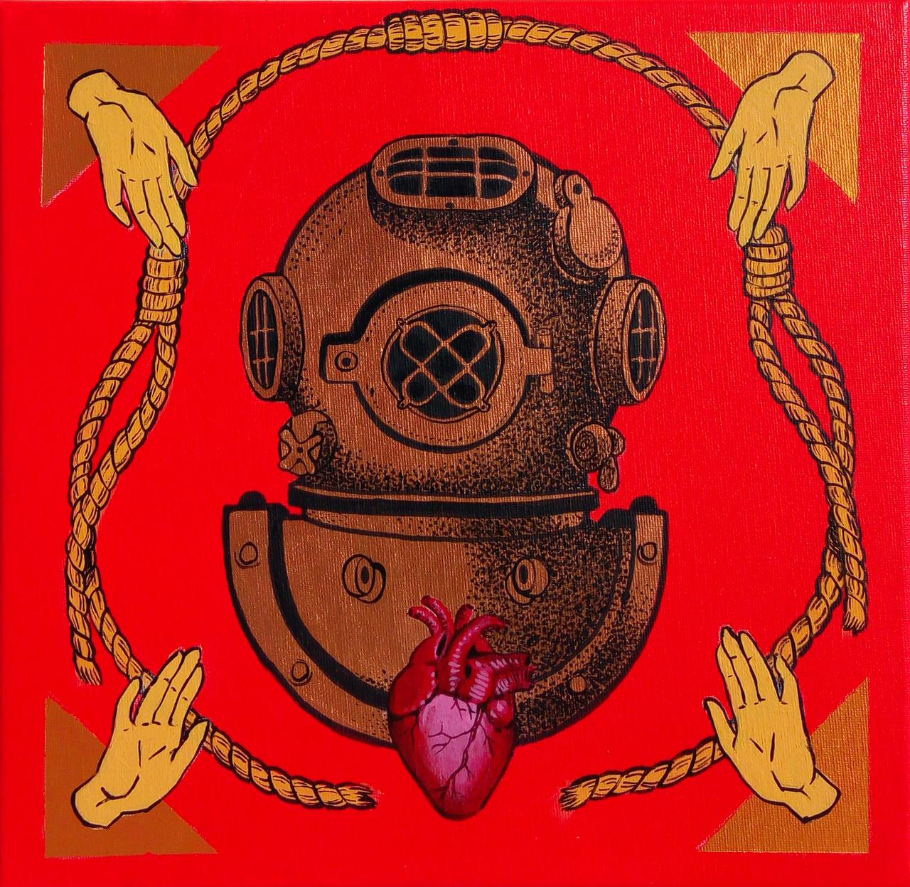 Brave Hearts Dive Deep,acrylic on canvas, 30 x 30 cm