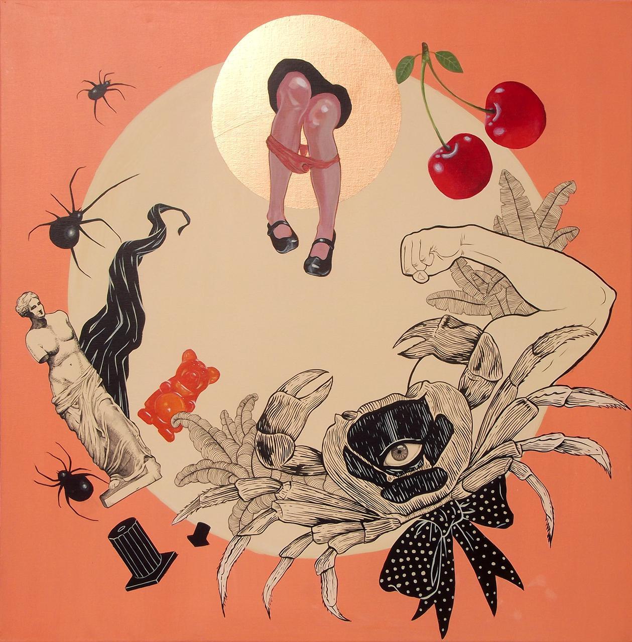 Cherry-Ppop, acrylic on canvas, 80 x 80 cm
