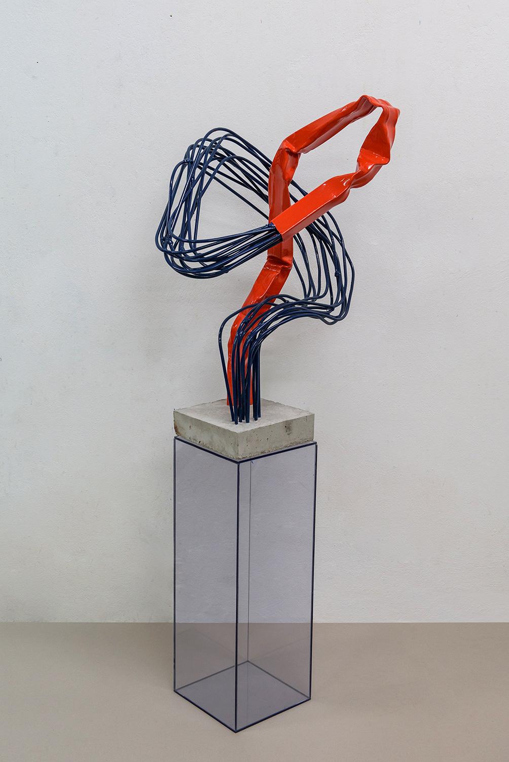 Contact, Iron, cement, colour, 168 x 45 x 45 cm, 2020, Athens