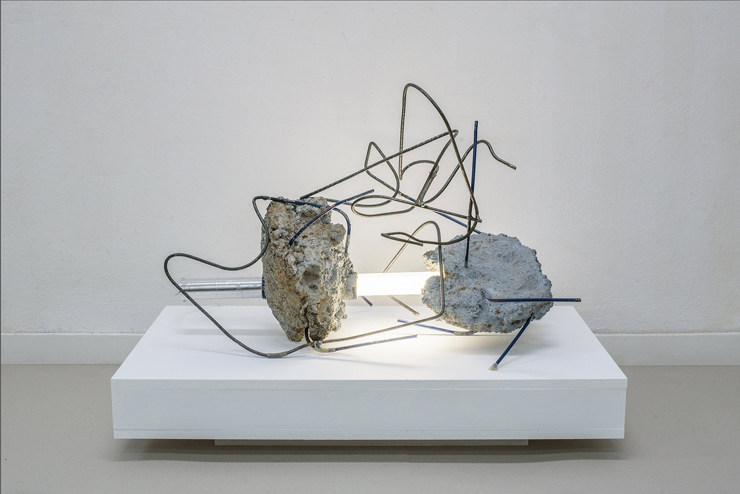 Through the wreckage…, Cement, iron plexiglass, light, 50 x 90 x 50 cm, 2018, Athens