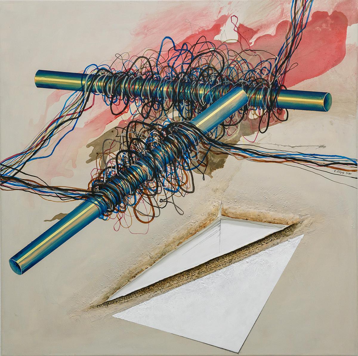 Untitled, Acrylics, cloth, porcelain on canvas, 100 x 100 cm, 2019, Trikala
