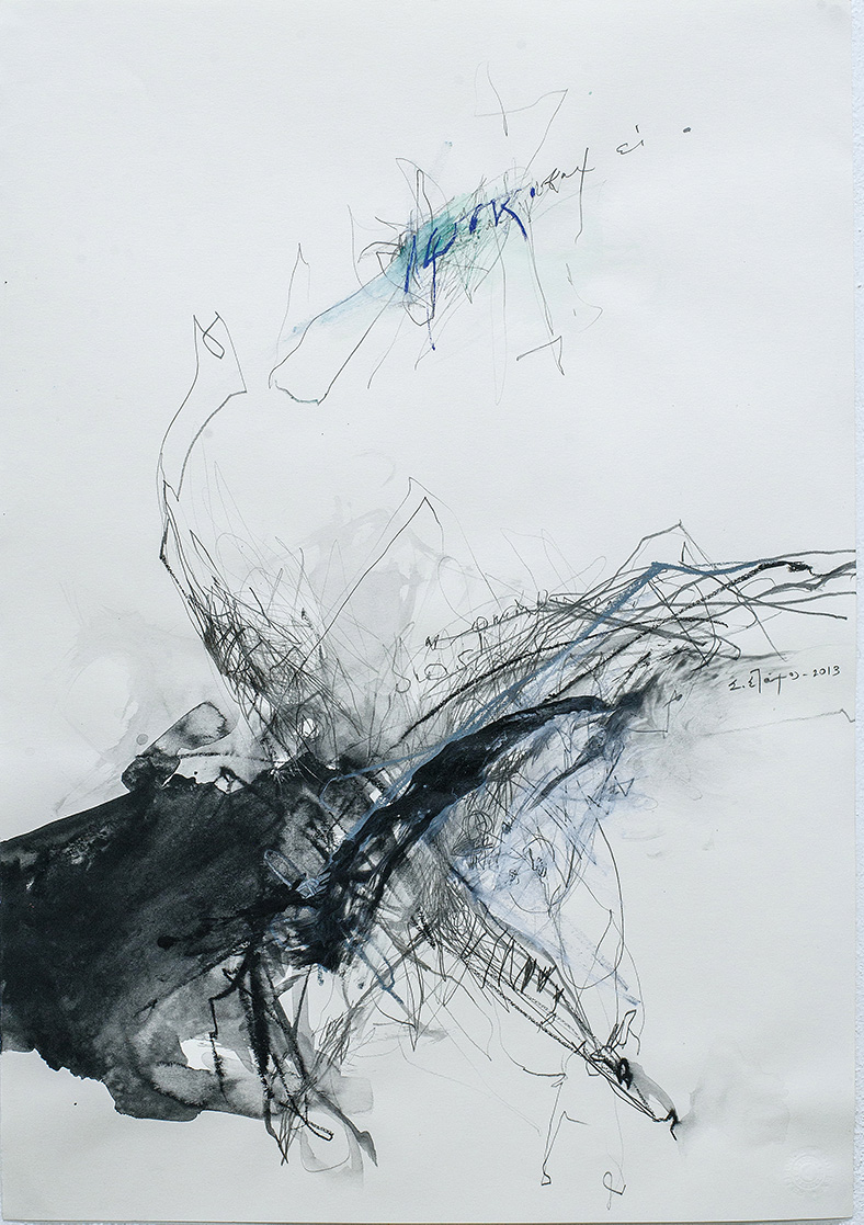 Untitled II, Acrylic, pencil, pastels on paper, 48 x 30 cm, 2013, Athens