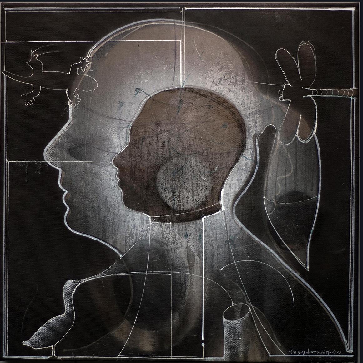 Aggelos Antonopoulos, Portrait I, 2019, acrylics on canvas, 40 x 40 cm