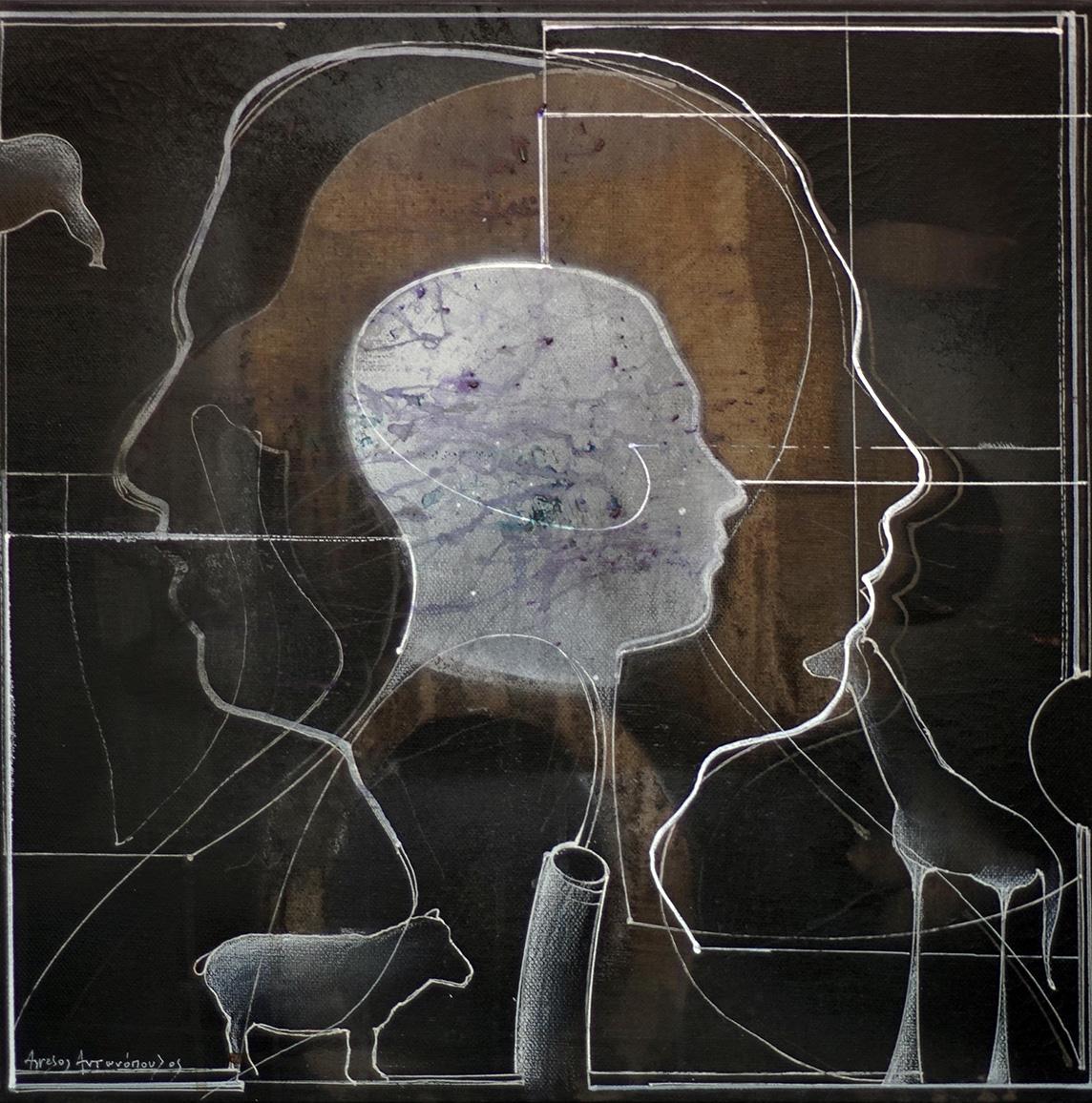 Aggelos Antonopoulos, Portrait II, 2019, acrylics on canvas, 40 x 40 cm