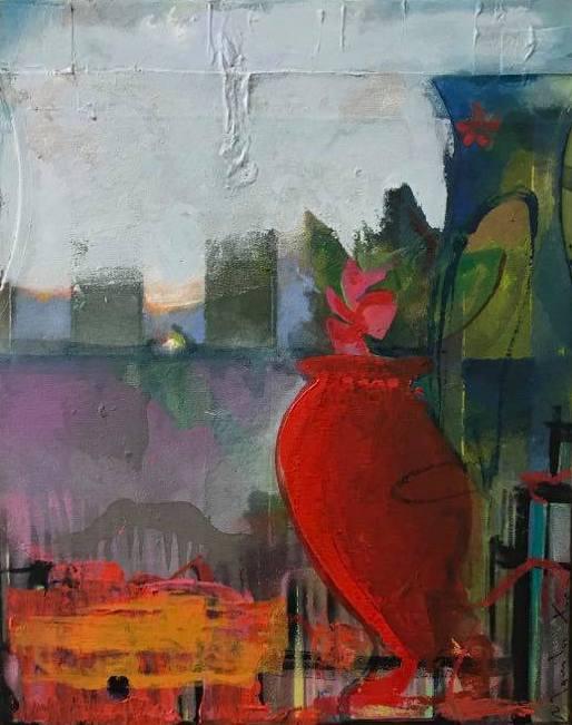 Manolis Charos, The Signals, 2020, mixed media, 50 x 43 cm