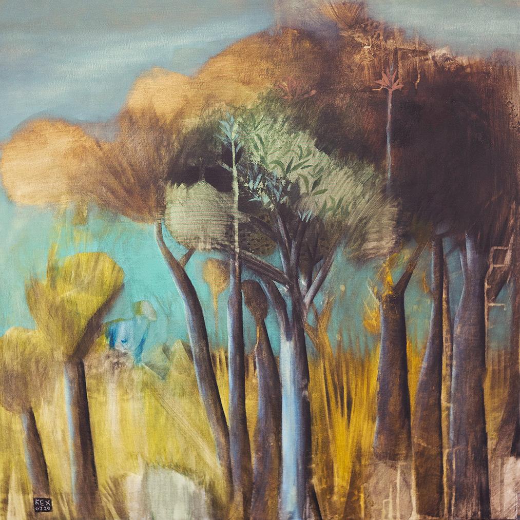 Christos Kehagioglou, Chaikou Ι - Τhe Forest, oil on canvas, 75 x 75 cm