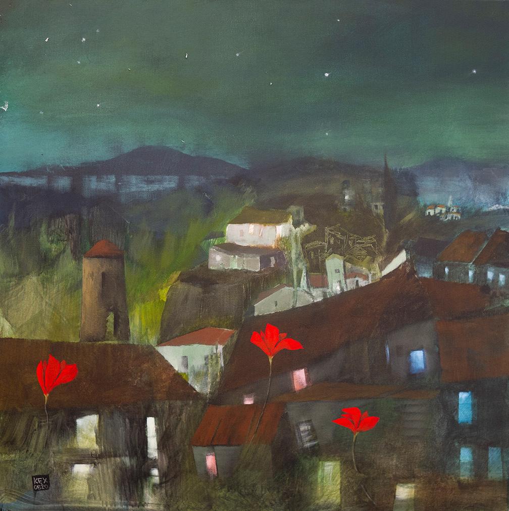 Christos Kehagioglou, Chaikou ΙΙ - Vigil, oil on canvas, 75 x 75 cm