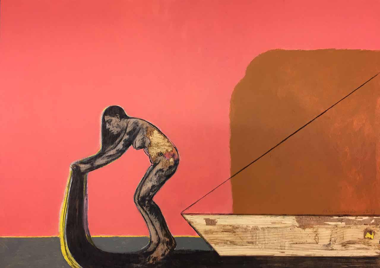 Michalis Manousakis, Untitled, 2013, acrylics on wood, 50 x 70 cm
