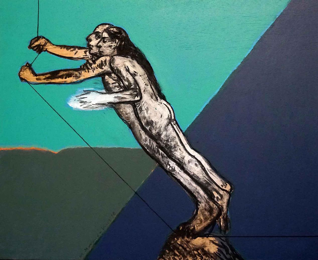 Michalis Manousakis, Untitled, 2018, acrylics on wood, 45 x 55 cm