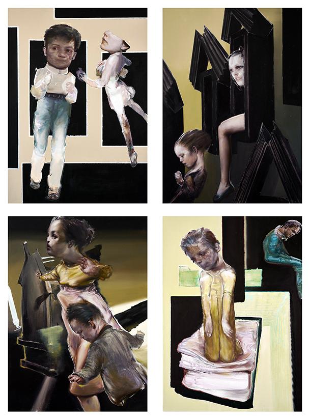 Tassos Missouras, Untitled, 2020, acrylics and oil on canvas, 70 x 50 cm (each)
