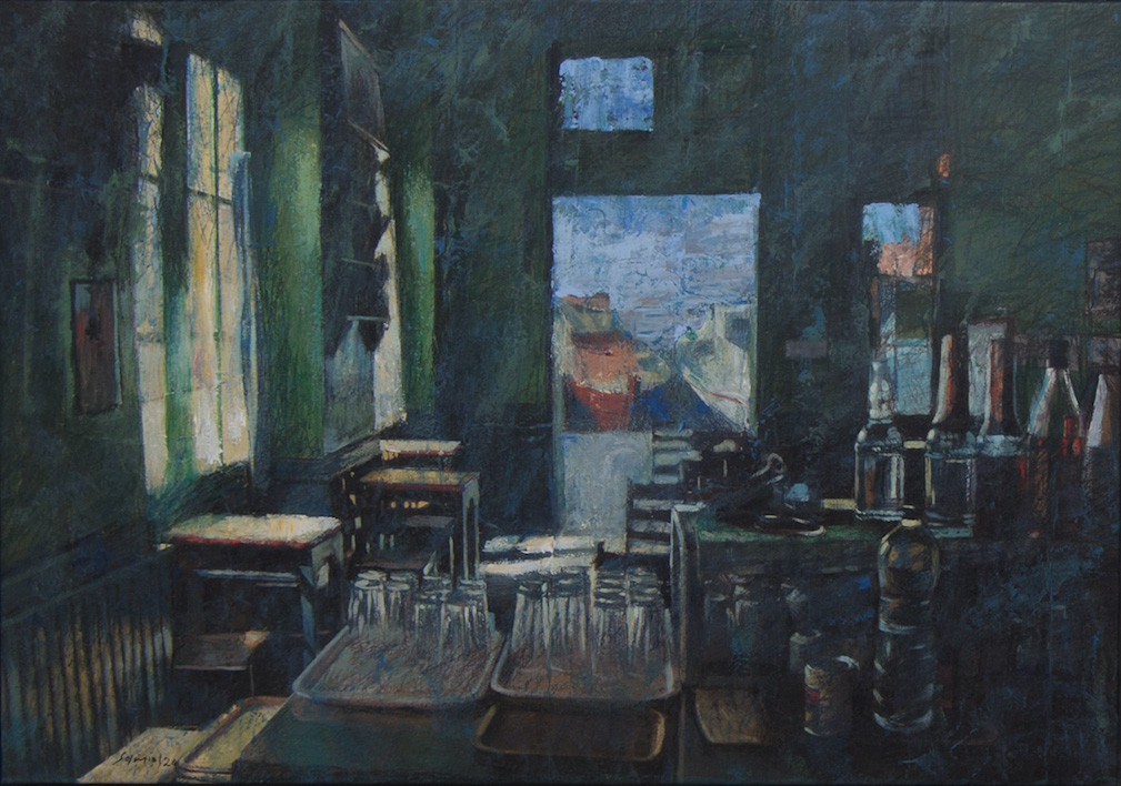 Pavlos Samios, Cafe with a view, 2020, acrylics on canvas, 70 x 100 cm