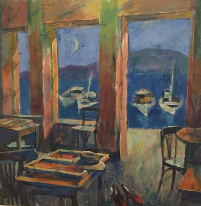 Pavlos Samios, Cafe with a view, 2020, acrylics on canvas, 80 x 80 cm