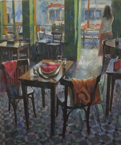Pavlos Samios, Cafe, 2019, acrylics on canvas, 80 x 70 cm