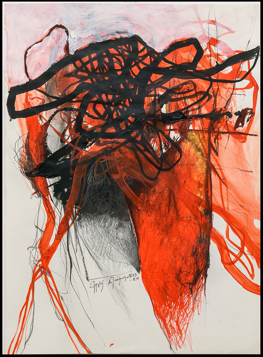 Stergios Stamos, Untitled I, 2013-20, acrylics and pencil on paper, 48 x 35 cm