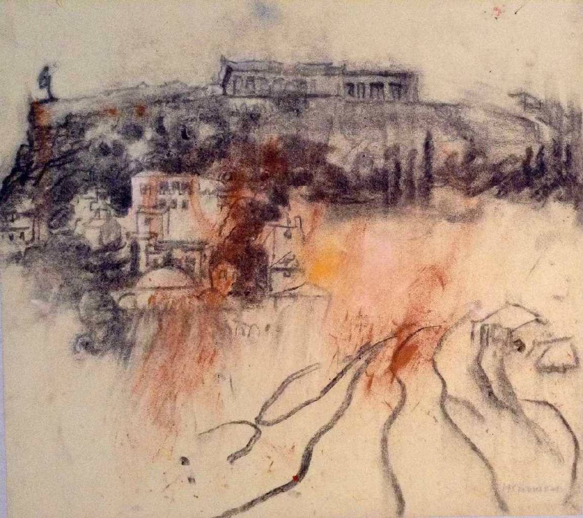 Maria Giannakaki, Acropolis, charcoal on rice paper,  42 x 42 cm, 2015