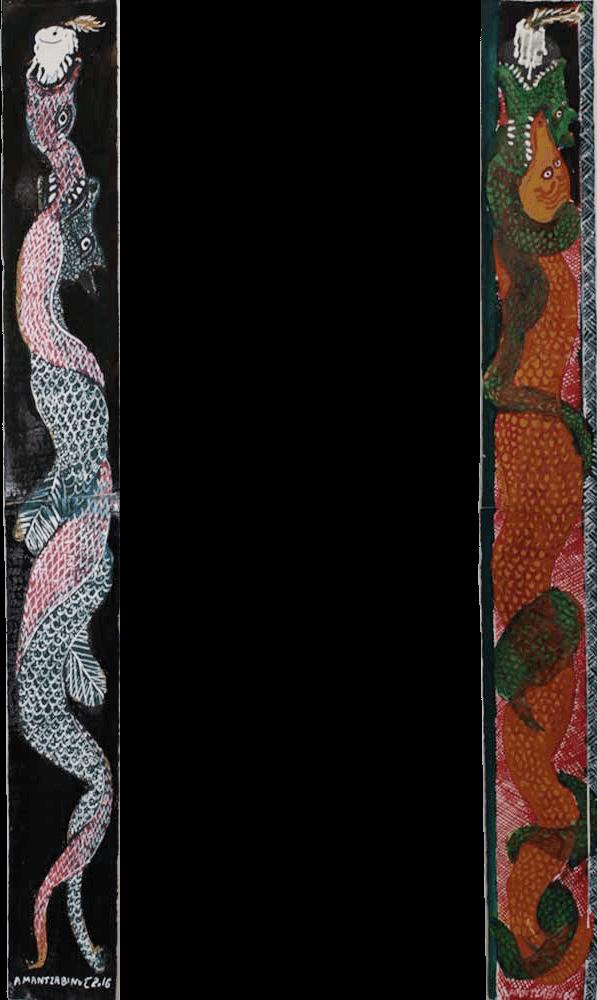 Tassos Mantzavinos, Snake, watercolours & ink, 81 x 10 cm (each), 2016