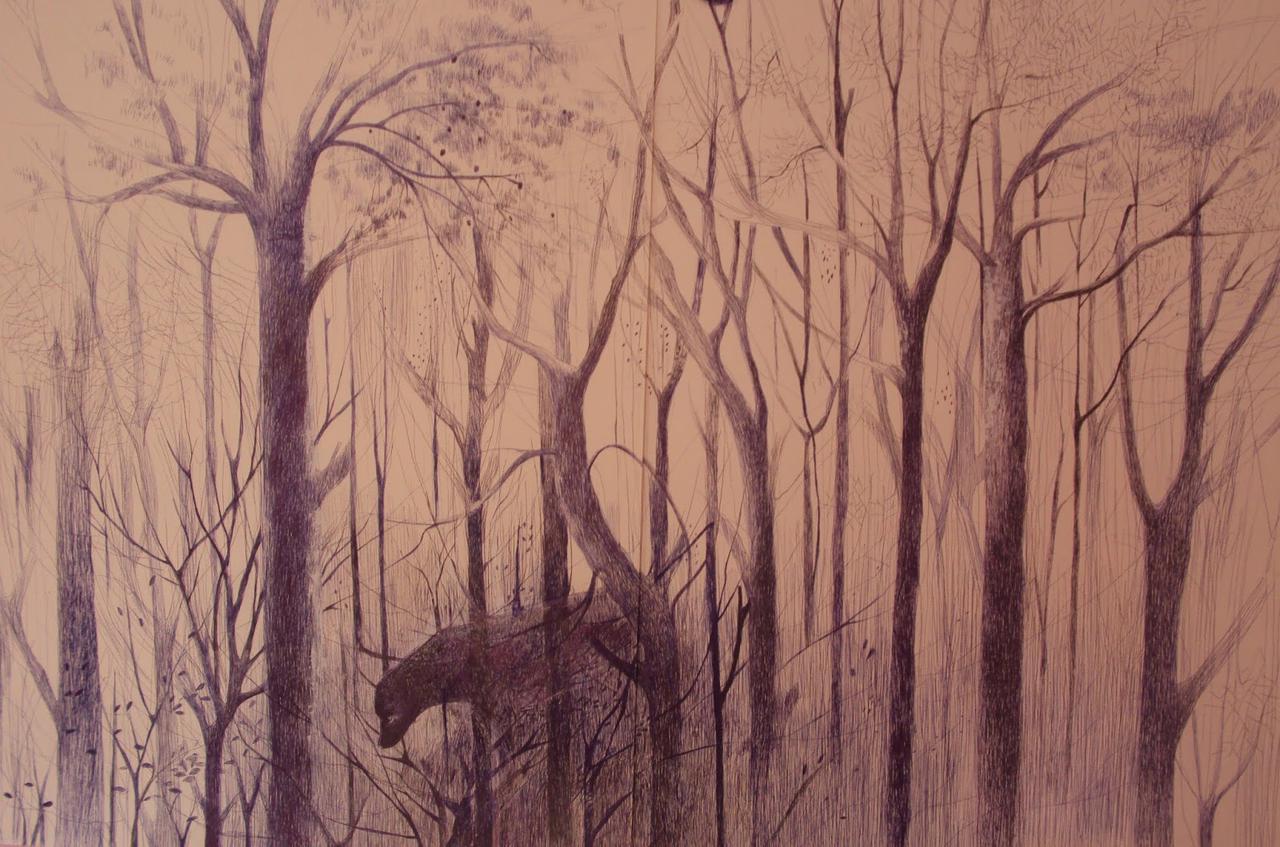 Kalliroi Marouda, The Park, pen on paper, 100 x 140 cm, 2016
