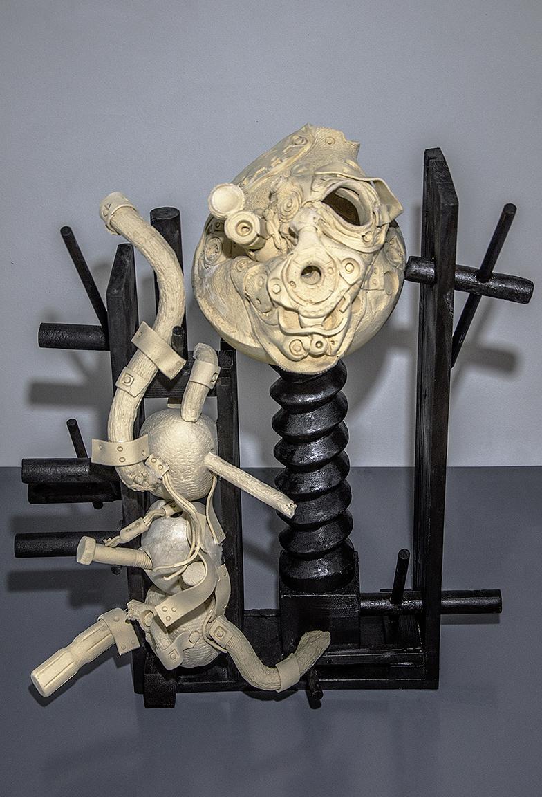 Aris Katsilakis, Untitled, baked clay and wood, 70 × 65 × 30 cm, 2020