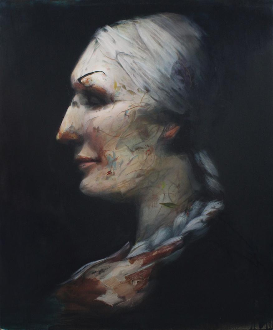 Gogo Ieromonachou, The White-haired woman, Oil on canvas, 180 × 150 cm, 2019