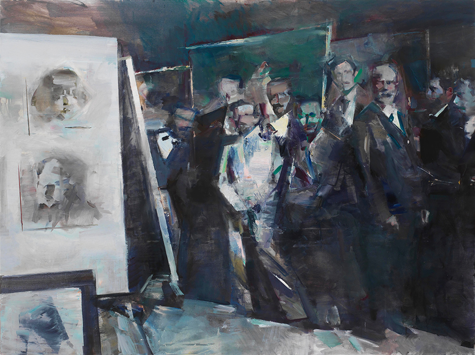 Juliano Kaglis, Gyzis and his students in Munich, Oil on canvas, 120x160 cm, 2020