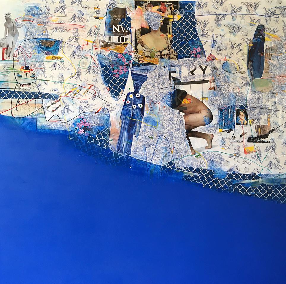 Konstantinos Patsios, Entropie des nuages, mixed media on canvas, 150x150 cm, 2020