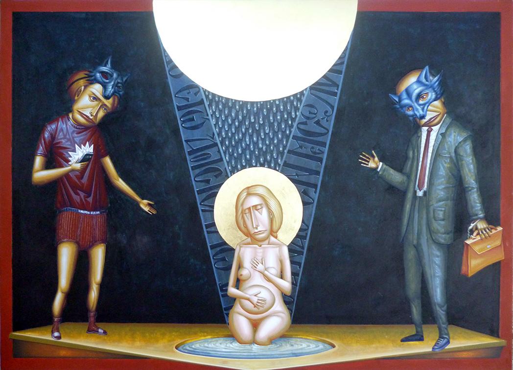 Kostas Lavdas, Behold, I send you, egg tempera and gold leaf on wood, 40×55 cm