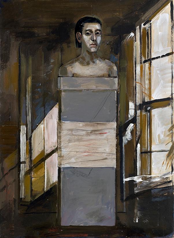 Kyriakos Katzourakis, Shame, oil on wood, 107X81 cm, 2017