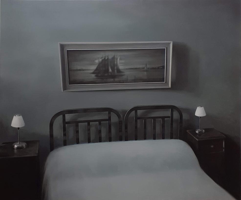 Mantalina Psoma, Bedroom, oil on canvas, 150X180cm, 2019