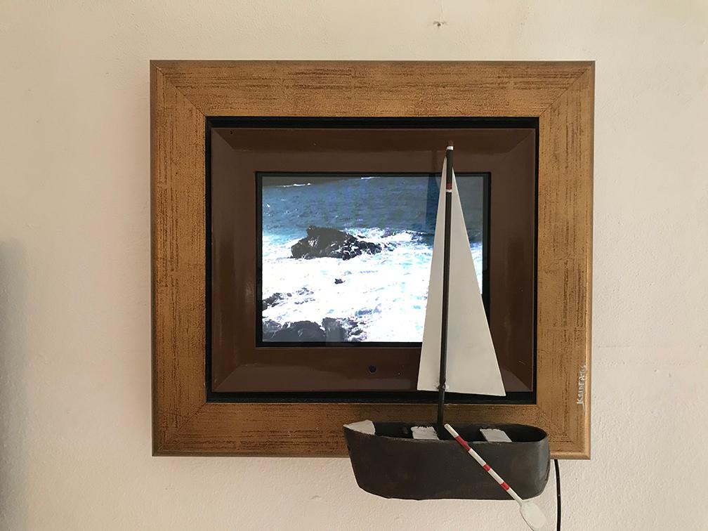 Nikos Kalafatis, Memories, wall-mounted with Video, 38x42 cm, 2017