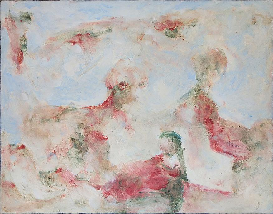 Thrafia (Panagiotis Daniilopoulos), Fairies (Nebulae), wax and pigments on canvas, 40x50 cm, 2020
