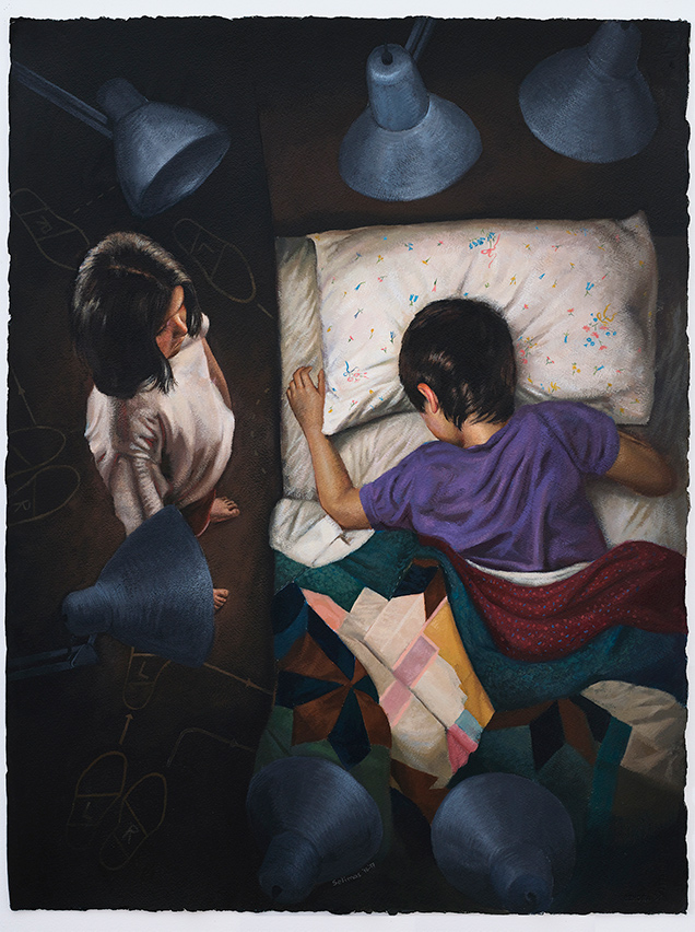 Vassilis Selimas, Hypnos (Sleep), acrylics on paper, 80x60cm, 2016-17