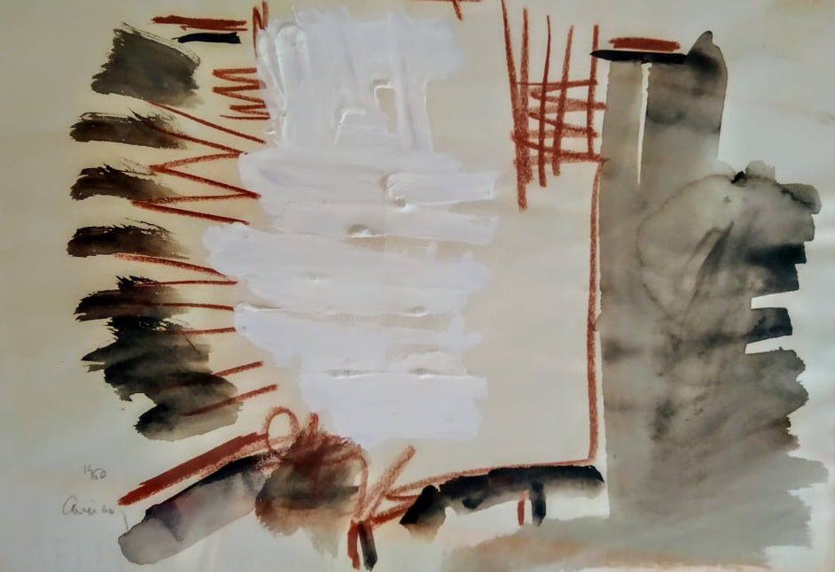 Vlassis Caniaris, Sketch, oil on canvas, 1960