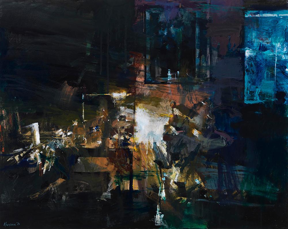 Yiannis Adamakis, Interior Ι, acrylics on canvas, 80X100 cm, 2020