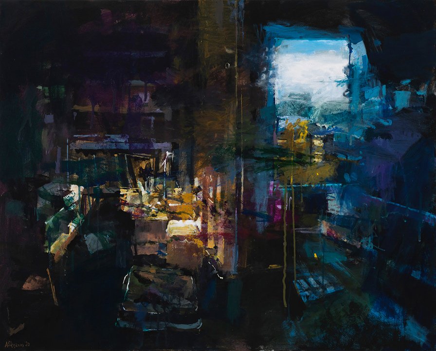 Yiannis Adamakis, Interior IΙ, acrylics on canvas, 80X100 cm, 2020