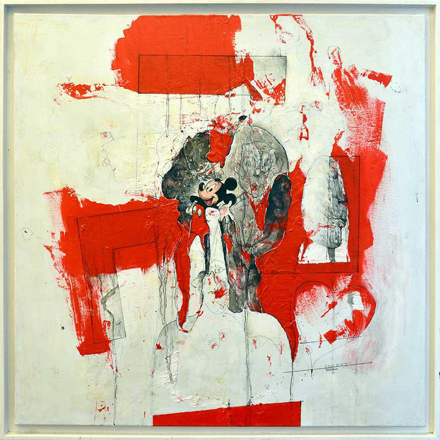Konstantinos Patsios, Adolfer, mixed media on canvas, 106 x 106 cm, 2010