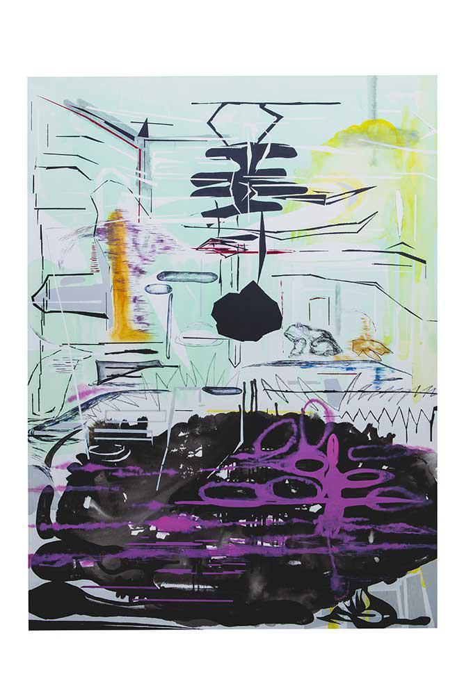Frog B, mixed media, 200 x 150 cm, 2016