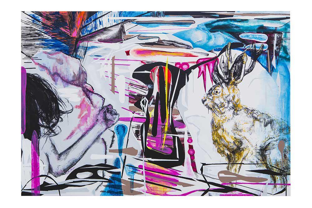 Human And Jackalope, mixed media, 70 x 100 cm, 2016