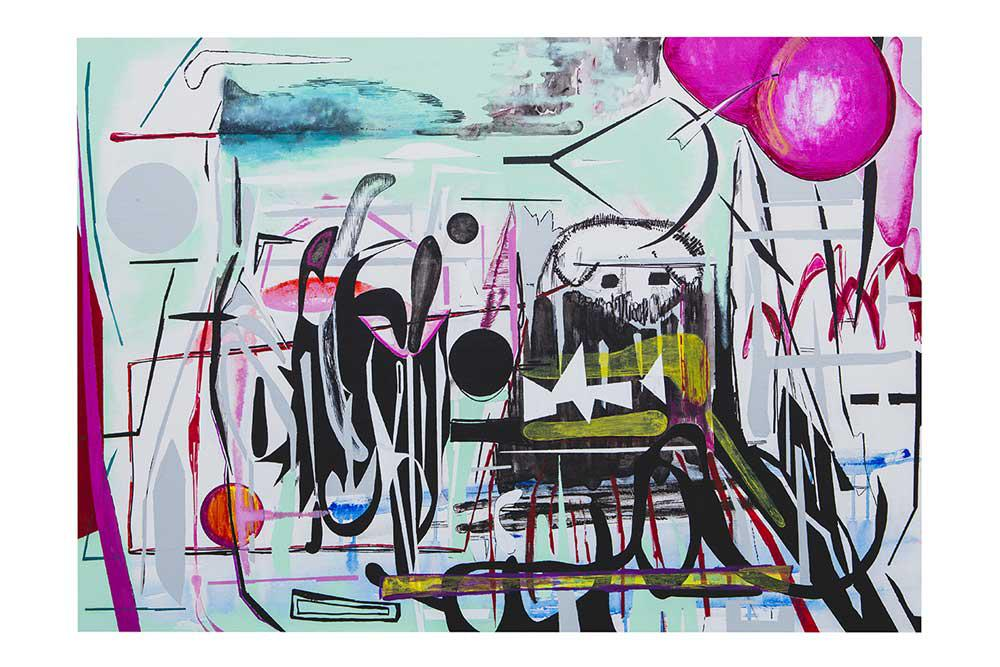 Space And Balloon, mixed media, 70 x 100 cm, 2016
